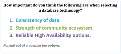 1: How important do you think the following are when selecting a database technology