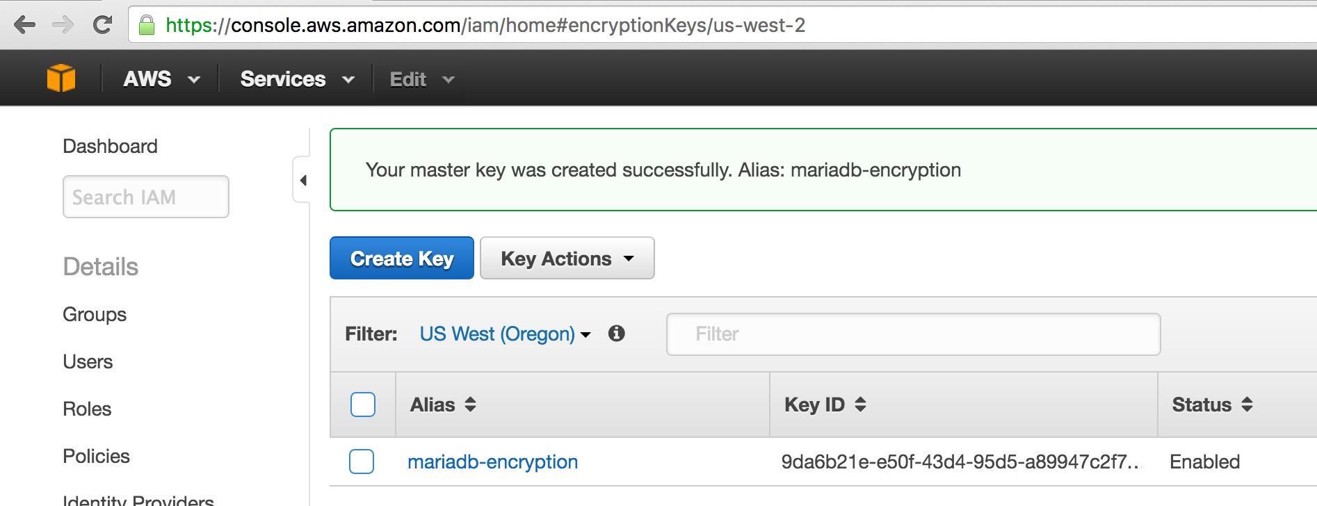 Amazon Web Services (AWS) Key Management Service (KMS) Encryption