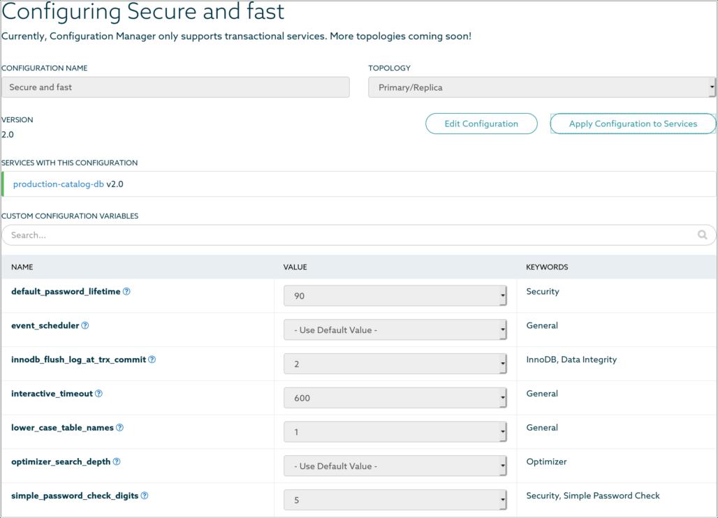 SkySQL cloud database configuration
