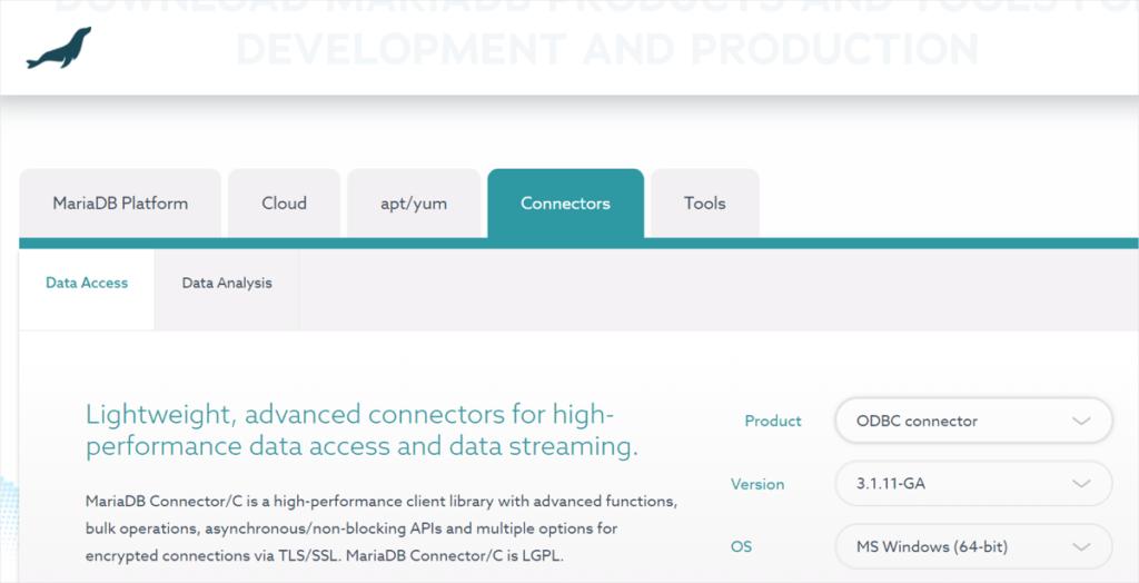 MariaDB downloads interface