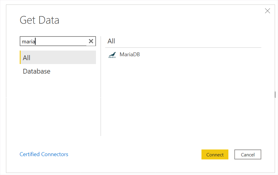 Power BI Search for MariaDB Query Adapter