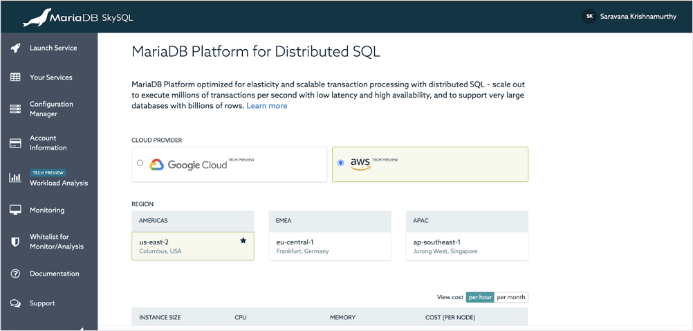 MariaDB SkySQL Interface