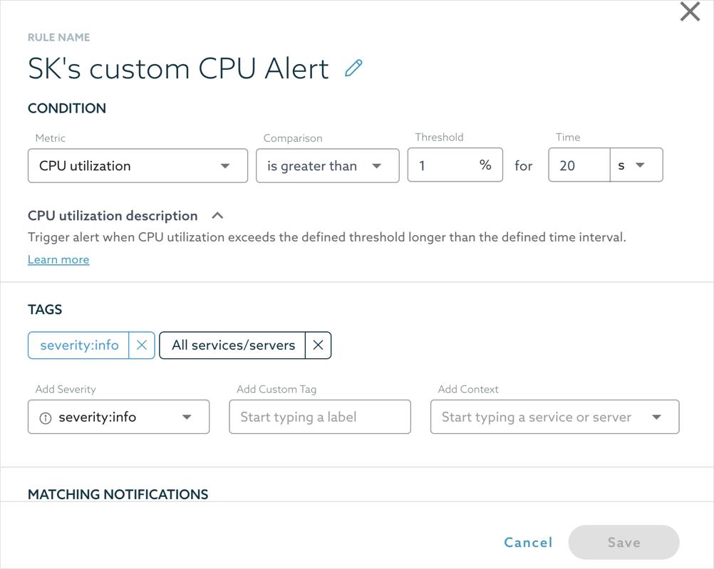 SkySQL Custom Alert Configuration
