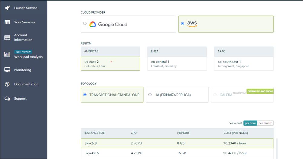 Deploy a service in SkySQL on GCP or AWS