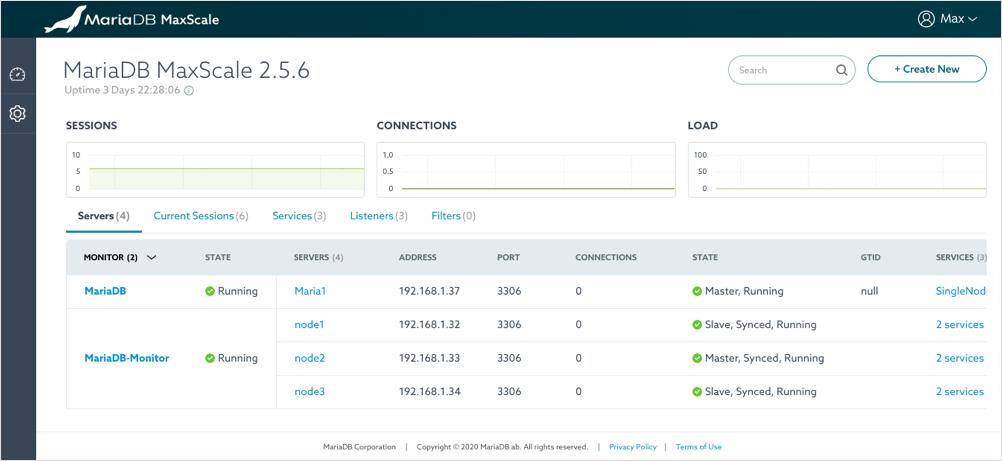 MariaDB MaxScale 2.5.6 UI