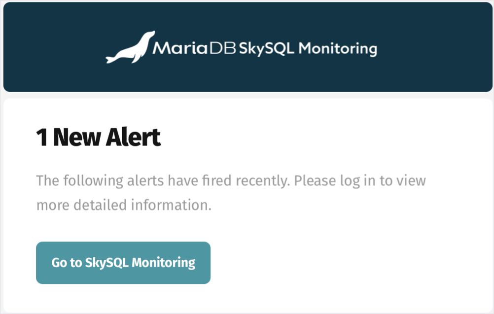 SkySQL email alert